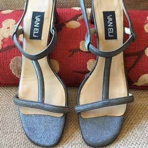 Vaneli silver mesh evening sandals